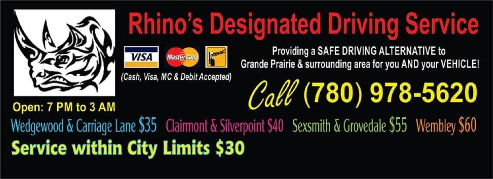 Rhinos Designated Driving Service - Opening Hours - 8002 112