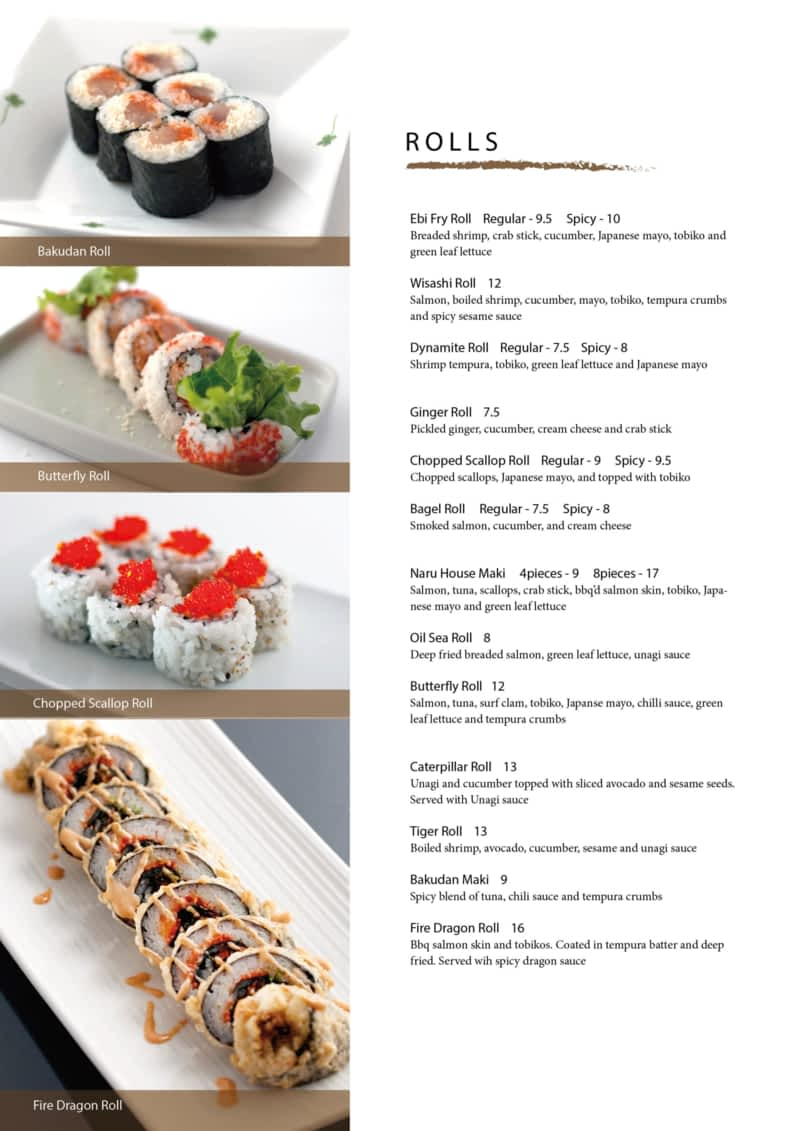 Naru japanese cuisine sydney ns 216 bentinck st for Asian cuisine saskatoon