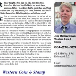 Western Coins & Stamp Ltd - Opening Hours - 120-6960 No 3 rd