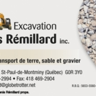 Excavation Denis Rémillard Inc - Sable et gravier - 418-469-2994