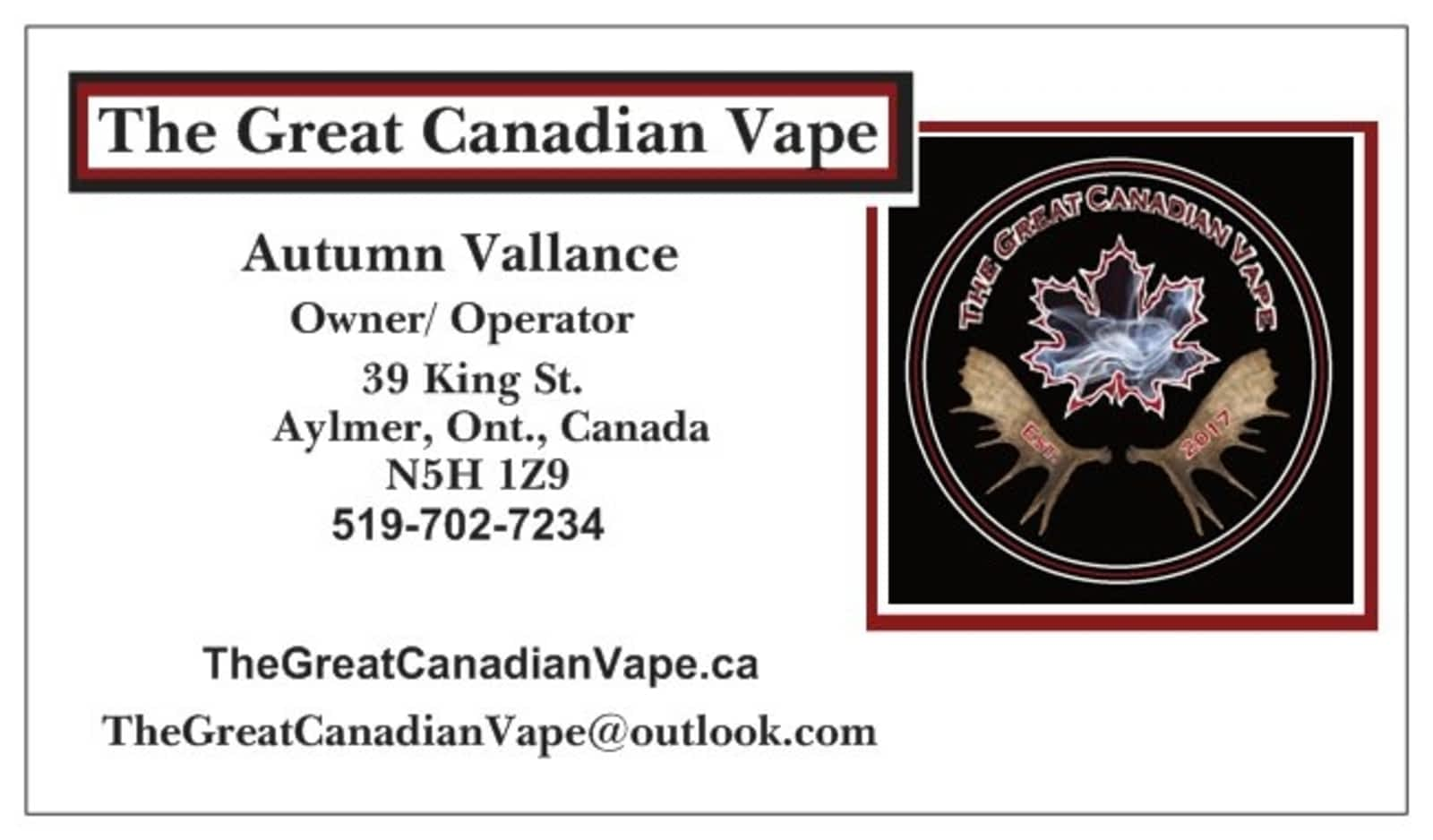 The Great Canadian Vape - Opening Hours - 39 King St, Aylmer West, ON
