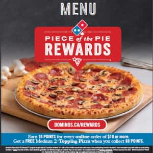 Domino S Pizza Menu Hours Prices 824 18th Street Brandon Mb