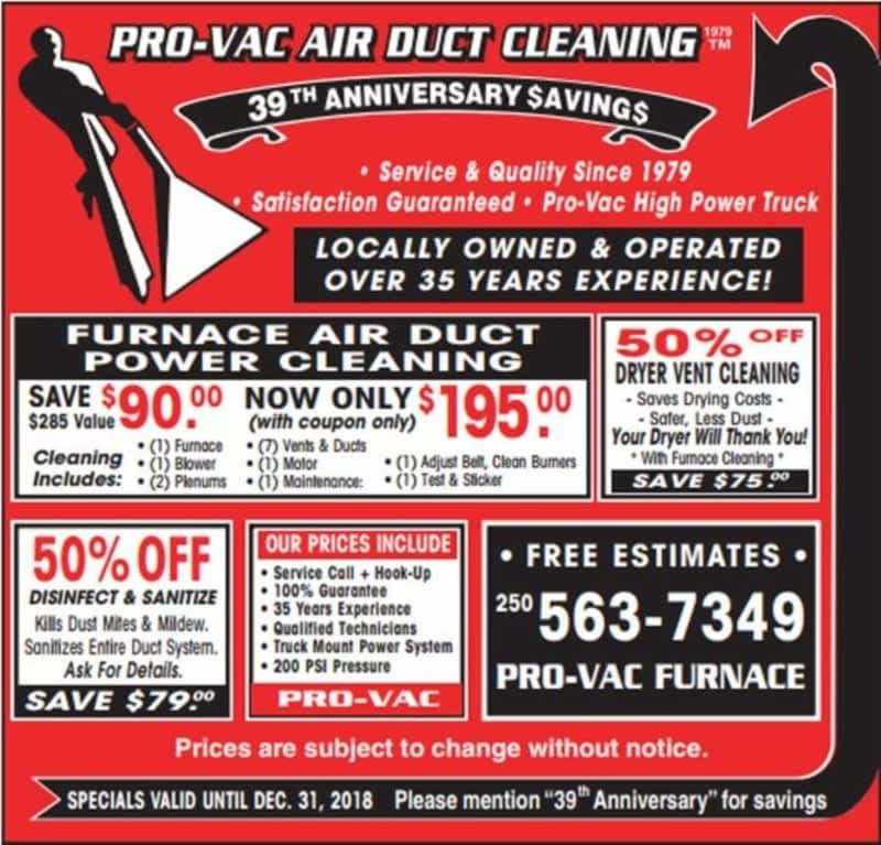 Pro Vac Furnace Air Duct Power Cleaning Prince George