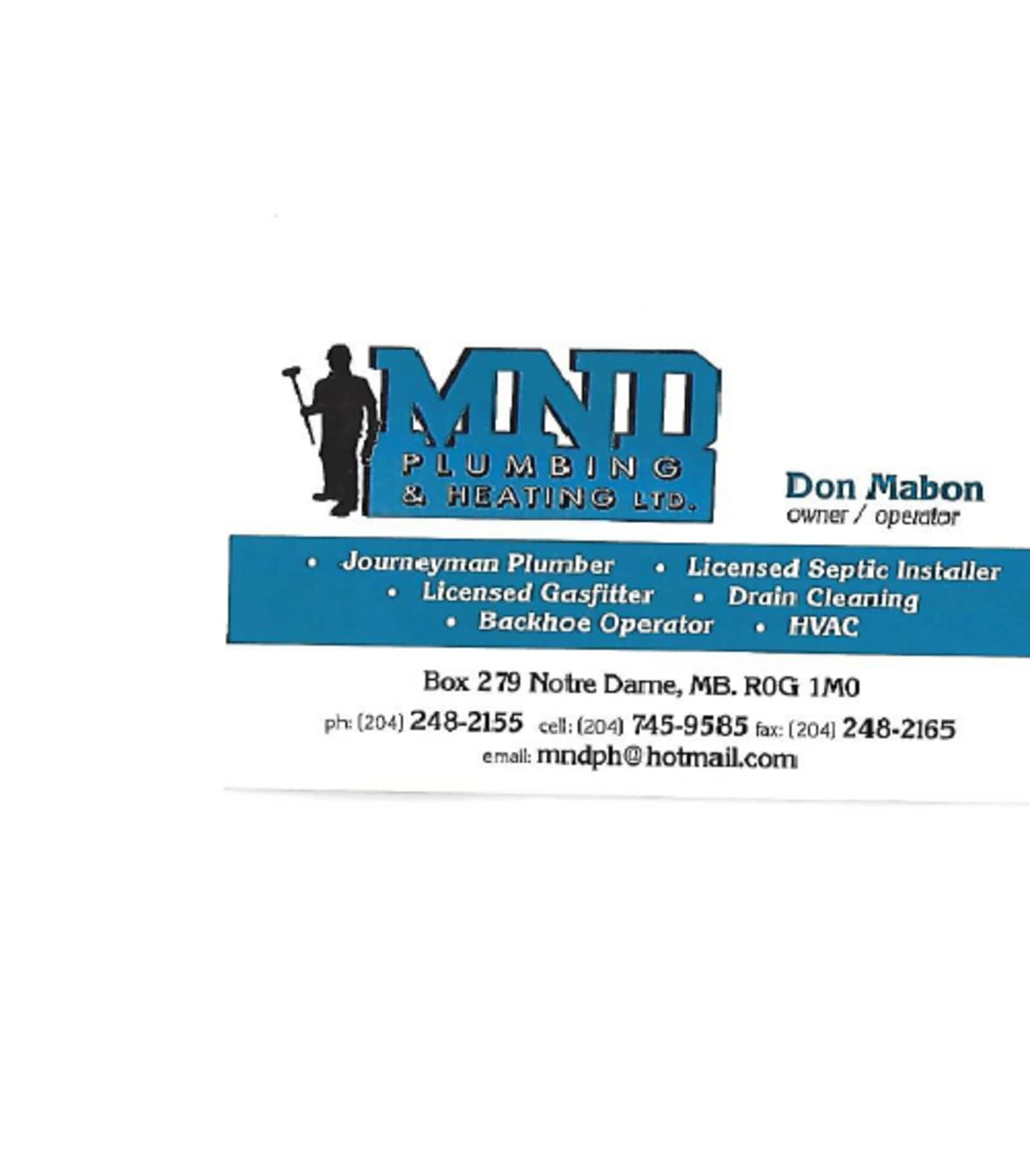MND Plumbing and Heating - Opening Hours - Notre Dame De Lourdes, MB