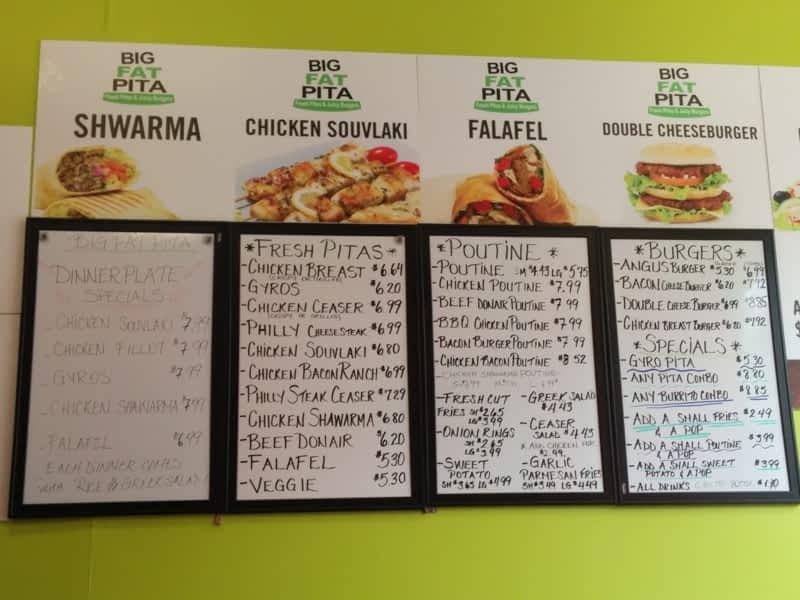 Big Fat Pita Kitchener Menu