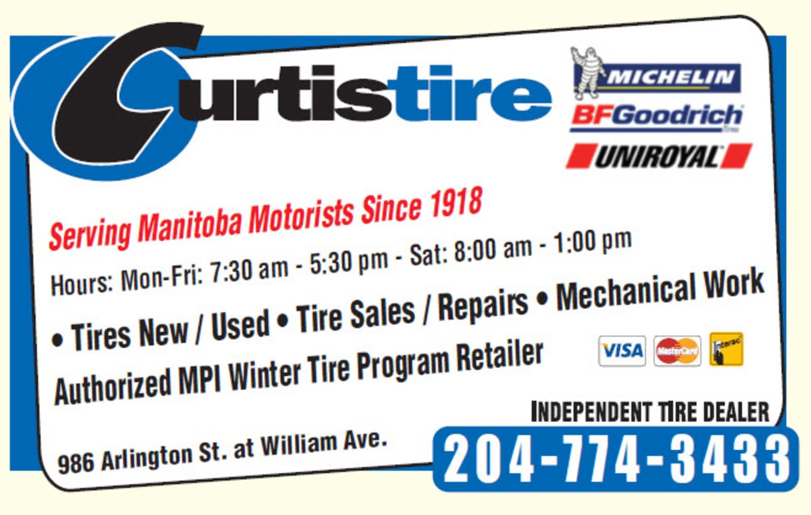 Used Tires Winnipeg >> Curtis Tire Service Opening Hours 986 Arlington St