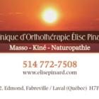 Clinique d'Orthothérapie Élise Pinard (Massothérapie) - Orthothérapeutes