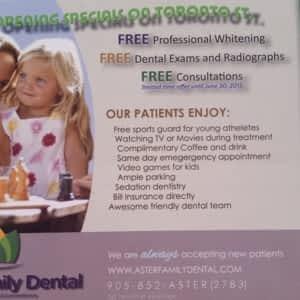 Aster Family Dental - Opening Hours - 6-282 Toronto St S