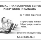 Monika's Medical Transcription - Medical Information & Support Services - 613-384-8241